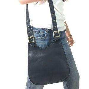 COACH Vintage Black Leather Flap Crossbody #9949